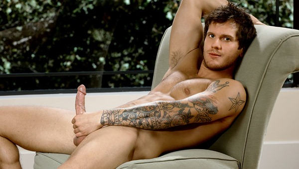 next door male sexy tattooed fellow stroking his large tool outdoor